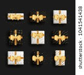 decorative gift boxes set with... | Shutterstock .eps vector #1041541438
