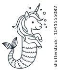 Cute Unicorn Mermaid Vector...