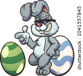 cool easter bunny wearing... | Shutterstock .eps vector #1041557845