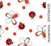 cute ladybug seamless pattern...   Shutterstock . vector #1041566155