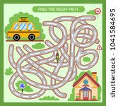 find the right path from taxi... | Shutterstock .eps vector #1041584695