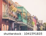 Small photo of Colorful balconies line the streets in the French Quarter of New Orleans Louisiana