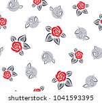 rose pattern with polka dots... | Shutterstock .eps vector #1041593395