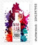 wine list template for bar or... | Shutterstock .eps vector #1041597955