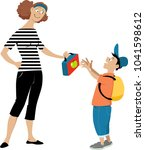 mother giving a lunch box to a... | Shutterstock .eps vector #1041598612