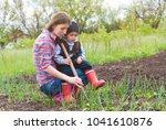 gardeners working with... | Shutterstock . vector #1041610876
