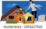 woman decluttering  throwing... | Shutterstock .eps vector #1041617026