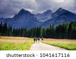 friends in tourist trip walking ... | Shutterstock . vector #1041617116