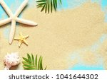summer beach. starfish and... | Shutterstock . vector #1041644302
