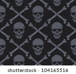 seamless pattern with skulls | Shutterstock .eps vector #104165516