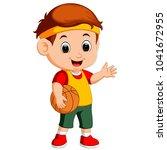 kid playing basketball | Shutterstock . vector #1041672955