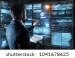 controlling everything. calm... | Shutterstock . vector #1041678625