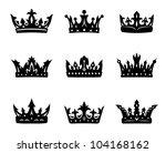 Black Heraldic Royal Crowns Set....
