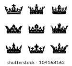 black heraldic royal crowns set.... | Shutterstock .eps vector #104168162