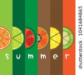 vector of summer fruit slice... | Shutterstock .eps vector #1041684865