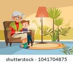 vector cartoon grandmother... | Shutterstock .eps vector #1041704875