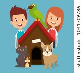 kids with pets characters | Shutterstock .eps vector #1041709786