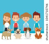 kids with pets characters | Shutterstock .eps vector #1041710746