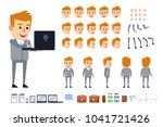 blonde businessman in grey suit ... | Shutterstock .eps vector #1041721426