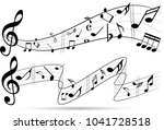 abstract music notes on line... | Shutterstock .eps vector #1041728518