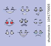 set of emotions. funny cartoon... | Shutterstock .eps vector #1041770005