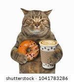the cat holds a cup of coffee... | Shutterstock . vector #1041783286