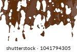 flowing molten chocolate. 3d...   Shutterstock . vector #1041794305
