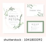wedding invitation card green... | Shutterstock .eps vector #1041803392