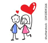 couple stick figure with heart... | Shutterstock .eps vector #1041804166