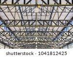 pattern of steel roof framework ... | Shutterstock . vector #1041812425