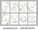 set of card with flower rose ... | Shutterstock .eps vector #1041823252