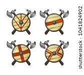 viking shields   vector icons...   Shutterstock .eps vector #1041824902