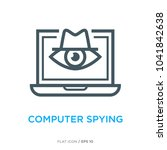 computer spying line flat icon | Shutterstock .eps vector #1041842638