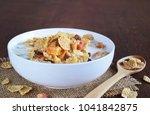 crispy whole wheat flakes... | Shutterstock . vector #1041842875
