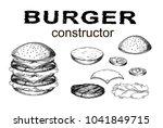 hand drawn monochrome vector... | Shutterstock .eps vector #1041849715