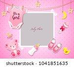 baby shower set. invitation...   Shutterstock .eps vector #1041851635