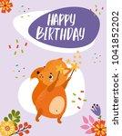 happy birthday. cute vector... | Shutterstock .eps vector #1041852202