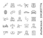 police linear icons set. law... | Shutterstock . vector #1041857776