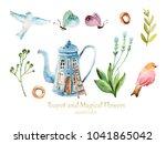 watercolor household item ... | Shutterstock . vector #1041865042