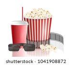 movie objects. popcorn  soda... | Shutterstock .eps vector #1041908872