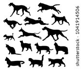 Stock vector silhouette of cats and dogs set 1041914506