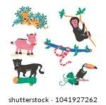 doodle wild animals set  tiger  ... | Shutterstock .eps vector #1041927262