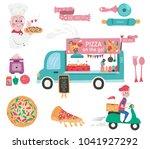 doodle drawing pizza food truck ... | Shutterstock .eps vector #1041927292