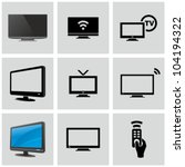 tv icons set. | Shutterstock .eps vector #104194322