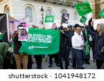 Downing Street, London, United Kingdom, 07th March 2018:- Pro Saudi Arabia protesters counter protest the Stop The War Coalition protest against the visit to the UK by the Crown Prince - stock photo