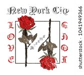 rock and roll roses. typography ... | Shutterstock . vector #1041949366