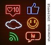 set of emoticons  glowing emoji ...   Shutterstock . vector #1041949918