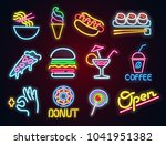 set food and drink neon sign.... | Shutterstock . vector #1041951382