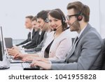 operator call center with... | Shutterstock . vector #1041955828
