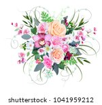 wedding bouquet with roses and... | Shutterstock .eps vector #1041959212